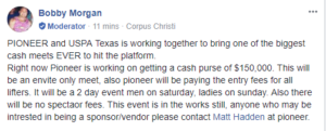 Texas USPA State Chair Bobby Morgan announces the upcoming Pioneer-sponsored meet with a $150,000 cash prize