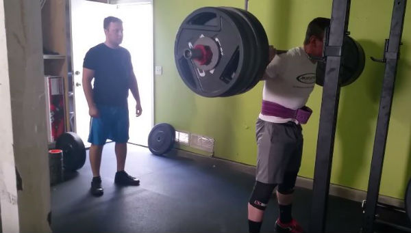 Squatting 500 pounds on an ohio rogue bar with a sports hernia