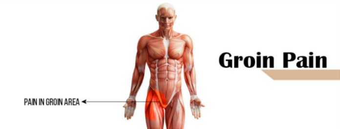 Man with groin pain standing up showing what his pulled groin feels like and how pain in the groin can affect the lower abdominals and the inner thigh