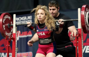 Elite Powerlifter Heather Connor stepping up to perform a squat at USAPL Raw Nationals