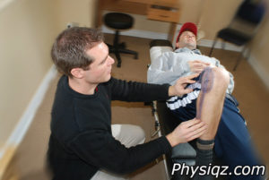 Physical Therapist uses exercises and stretches to cure the knee of pain using a treatment plan following injury