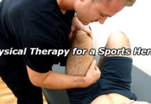 PT specialist performs physical therapy for a sports hernia injury after patient complains of chronic groin pain