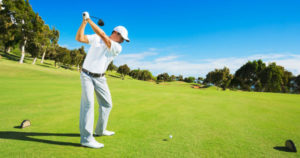 Sports hernia golf pain seen in a man swinging a driver on the greens