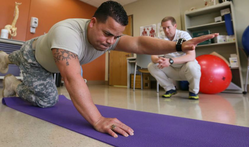 patient completes sports hernia treatment during a physical therapy session