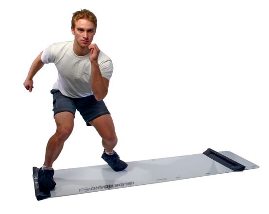 man performs slide board training drill