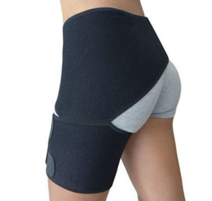 black sports hernia compression shorts worn by female to decrease pain levels