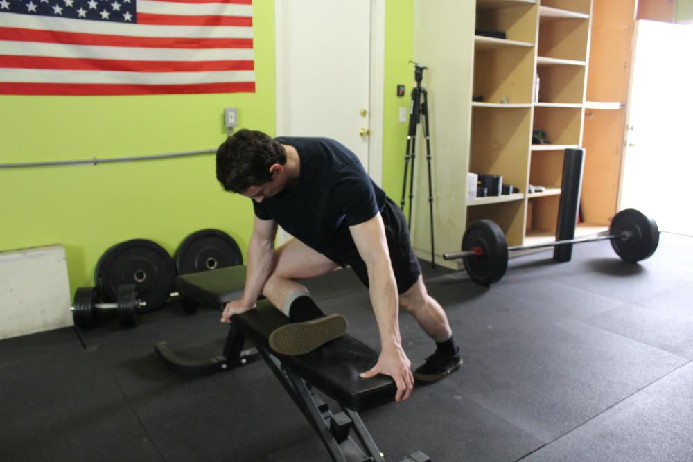 Bench Hip External Rotator Stretch