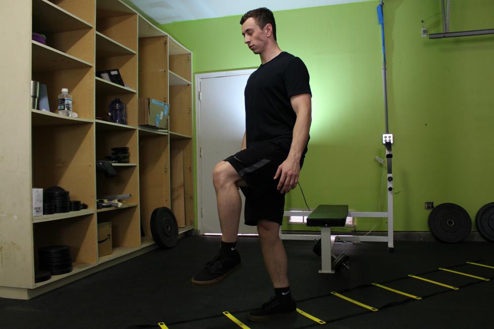 Single Leg Hop Agility Ladder Drill