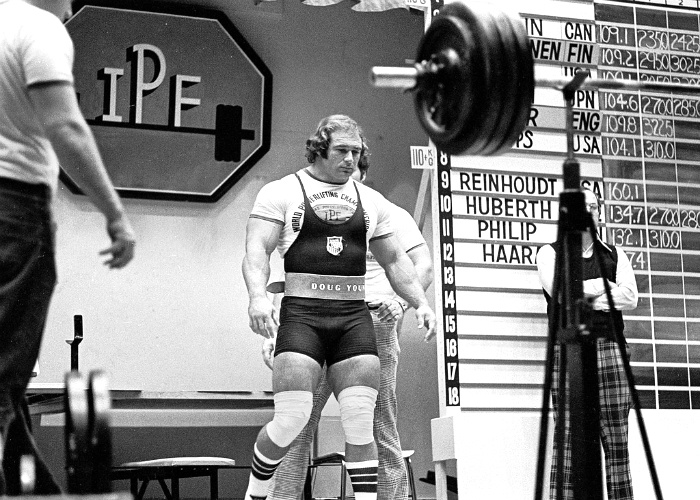 Powerlifter Doug Young prepares to squat in competition