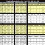 Sheiko program spreadsheet showing sheiko 29, 30, 31, and 32
