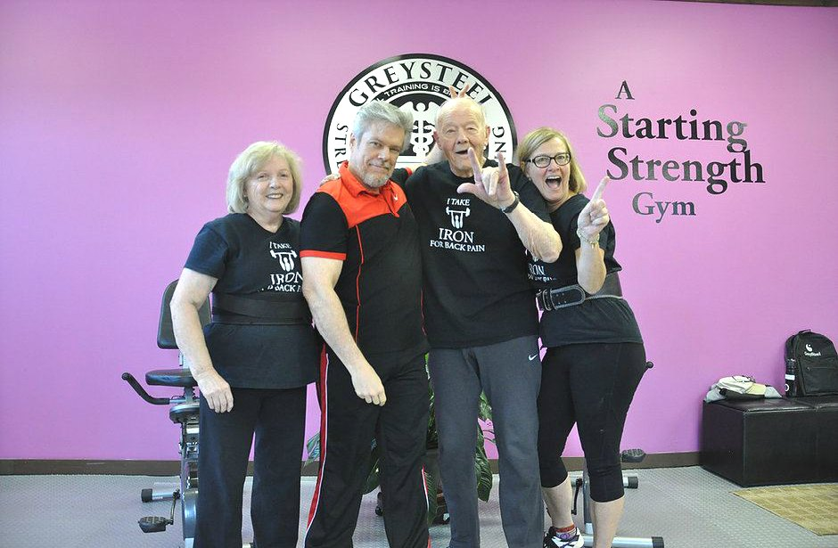 Greysteel Gym where Jonathon Sullivan uses a Starting Strength Routine for his elderly clients shown in the picture
